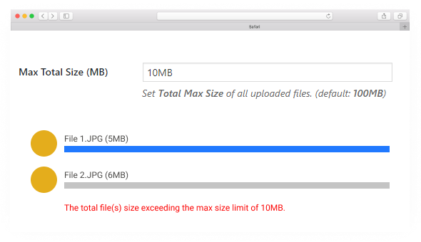 Drag & Drop Multiple File Upload - Max Total Size