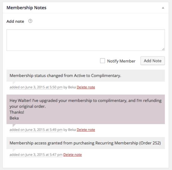 WooCommerce Membership Notes